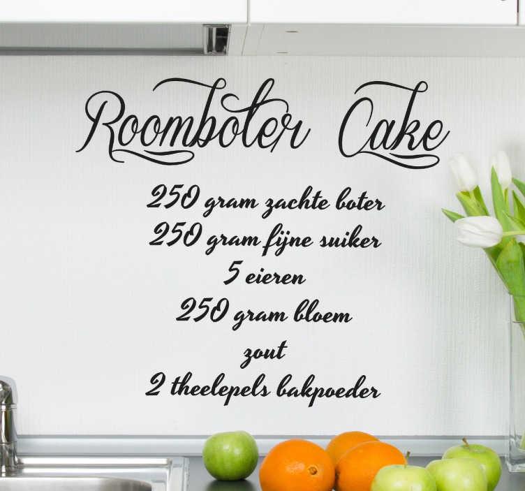 TenStickers. Recept roomboter cake sticker. Maak lekkere roomboter cake dankzij deze keuken muursticker met het recept! Vergeet dit recept nooit meer en gebruik het als decoratie.