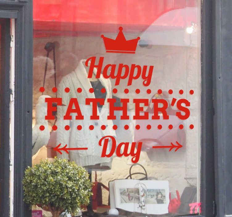 """TenStickers. Vaderdag Promotie Sticker. Een leuke muursticker of raamsticker met de tekst """"Happy Father's Day"""" voor Vaderdag! Kleur en afmetingen aanpasbaar. Eenvoudig aan te brengen."""