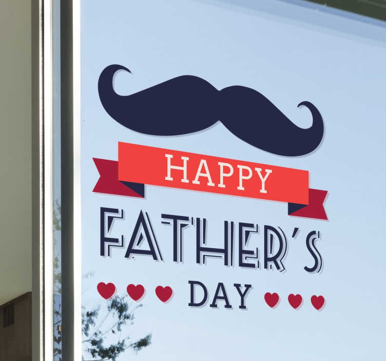 TenStickers. Sticker vitrine moustache fête des pères. Un autocollant de dessin de moustache pour une vitrine ou un magasin, avec lequel promouvoir la prochaine fête des pères.