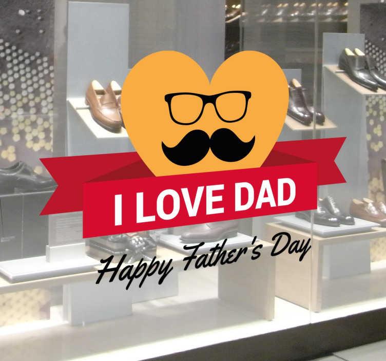 """TenStickers. Sticker fête des pères moustache. Sticker moustache pour vitrine ou magasin """"I love DAD"""" avec lequel promouvoir la prochaine fête des pères."""