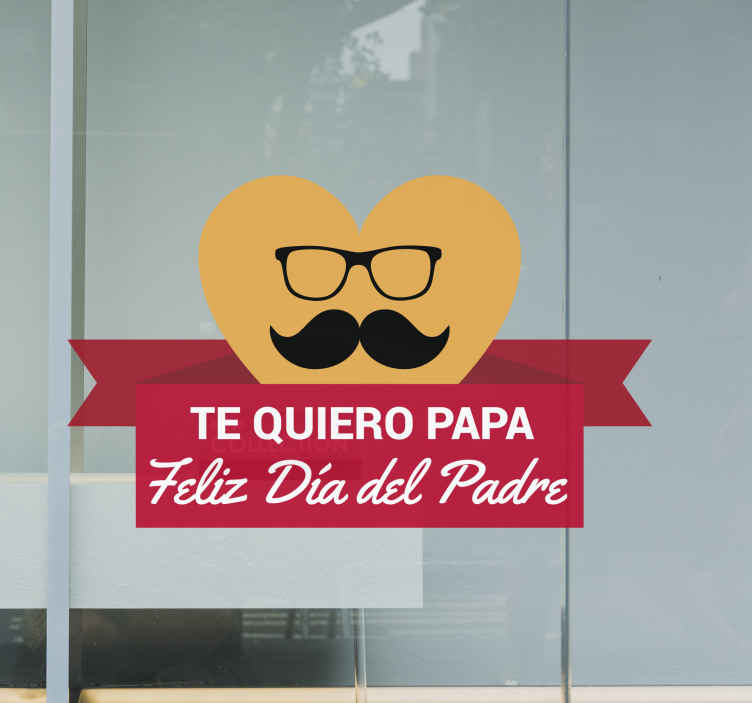 TenVinilo. Vinilo para el día del padre corazón bigote. Vinilo para tiendas con el que podrás promocionar de forma llamativa y efectiva tu escaparate para el próximo día del Padre.