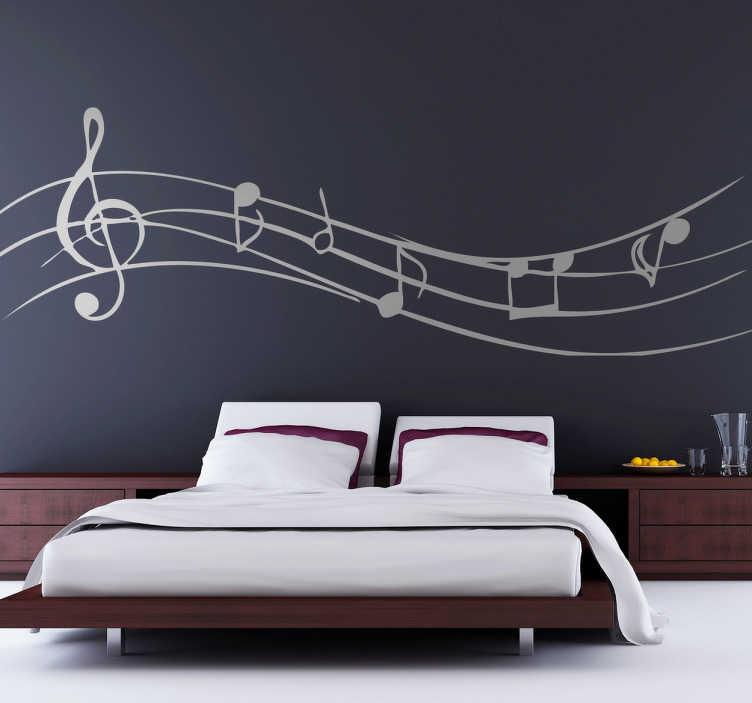TenStickers. Sticker décoratif partition musicale. Stickers décoratif d'une partition de musique avec ses notes musicales et clé de sol. 50 couleurs au choix.