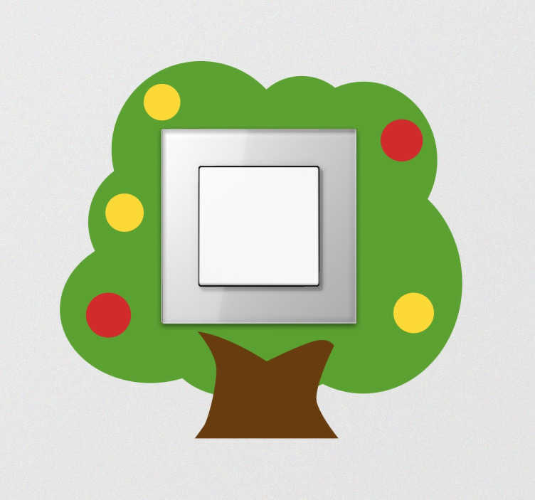 TenStickers. Adesivo infantil para interruptor árvore. Adesivo interruptor ideal para dar um toque de cor e alegria ao quarto dos teus filhos.
