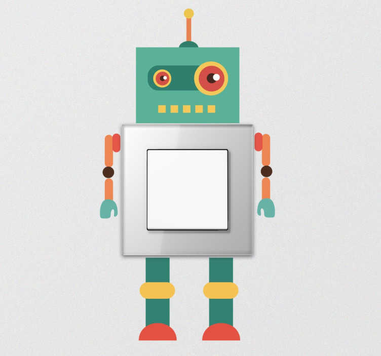 TenStickers. Lichtschalter Sticker Roboter. Futuristischer Aufkleber von einem bunten Roboter für deine Lichtschalter im ganzen Haus.