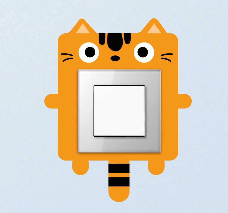 TENSTICKERS. 子供の猫ライトスイッチステッカー. あなたの子供の部屋に喜びと色のタッチを与えるように設計されたライトスイッチステッカー。面白いオレンジ色の猫の絵とスイッチステッカー。キャットライトスイッチステッカーは、ライトスイッチとプラグソケットにオリジナルの外観を施しています。