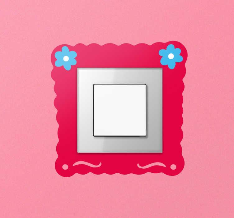 TenVinilo. Vinil infantil para apagador marco flores. Vinilo interruptor pensado para darle un pequeño toque de alegría y color a la estancia de la más pequeña de la casa.