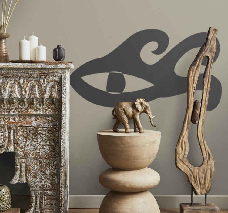 TenStickers. Sticker decorativo occhio tribale. Adesivo murale che raffigura l'occhio di una qualche divinità tribale. Una nota etnica per decorare il soggiorno o la camera da letto.