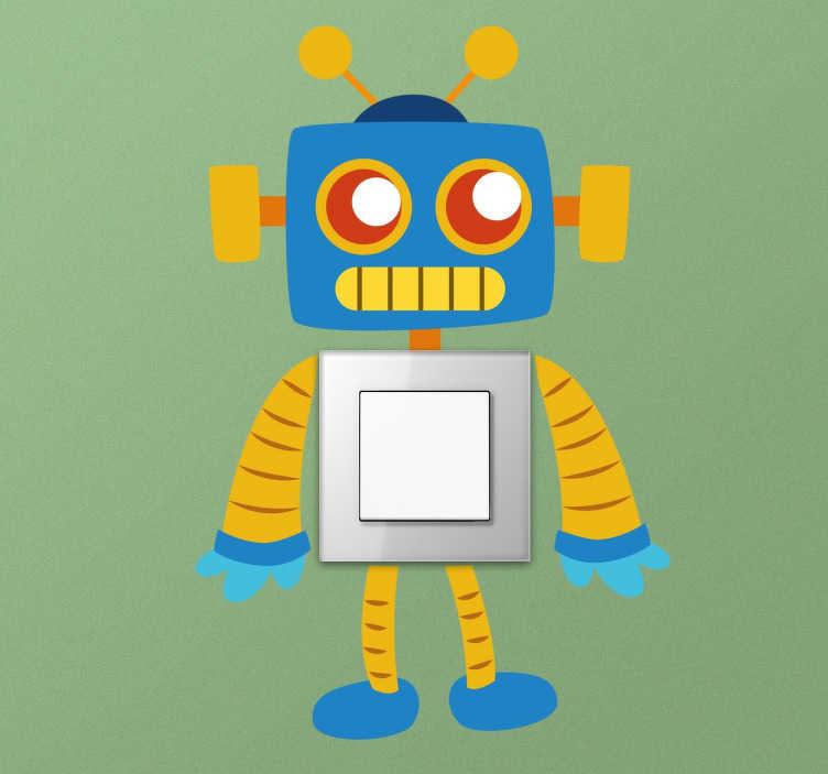 Tenstickers. Barn roboten bryter klistremerke. Et morsomt robotmærkat designet spesielt for å plasseres rundt lysbrytere og stikkontakter. Ideell for å dekorere barnas soverom på en unik måte.