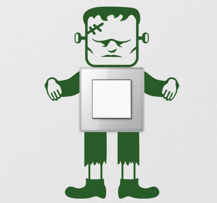 TenStickers. Lichtschakelaar Sticker Frankenstein. Decoratieve sticker voor lichte schakelaars en stopcontacten. Ideaal voor de Frankenstein fans onder ons!