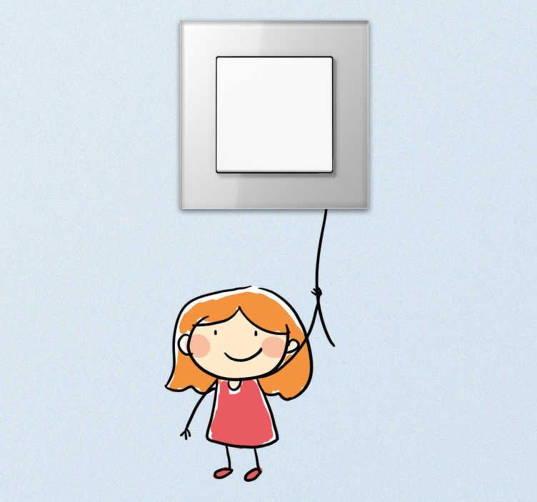 TENSTICKERS. ロープスイッチ付きステッカー. あなたの娘の部屋のインテリアをただ一つの要素で改善するのに最適な楽しいライトスイッチステッカーです。子供のためのステッカー、ロープを持っている女の子の面白いドローイングを持つスイッチは、風船を表しています。