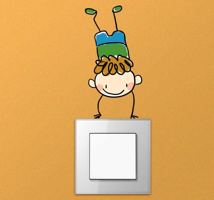 TenStickers. Adesivo interrupor menino com piruetas. Adesivo para interruptorperfeito para converter osinterruptores de luzdo quarto dos teus mais pequenos num espaço único e personalizado.
