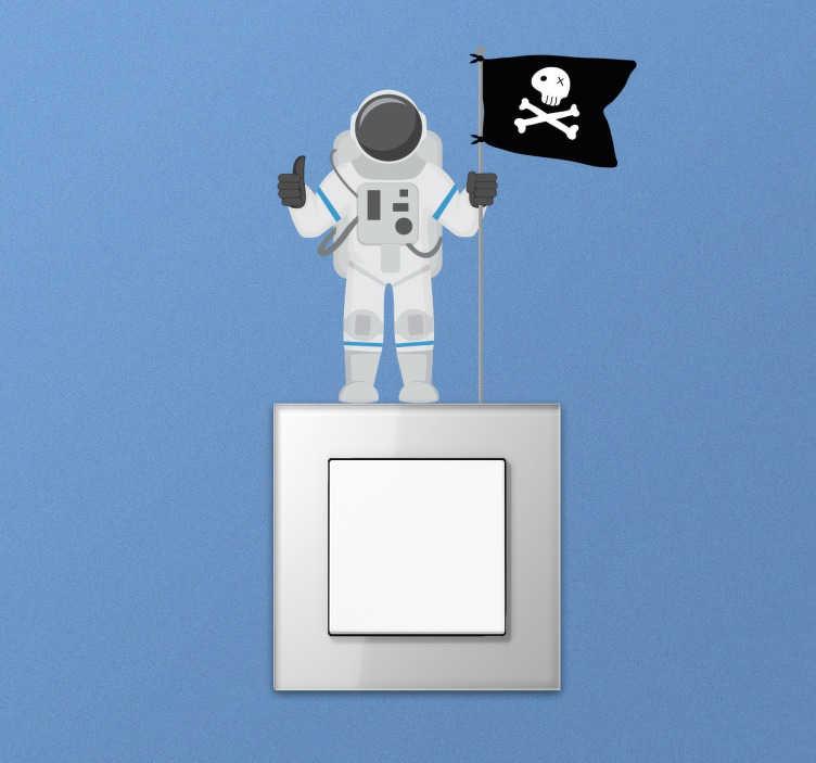 TenStickers. Lichtschalter Sticker Astronaut. Dekorativer Aufkleber von einem Astronauten mit einer Piratenfahne für die Steckdose oder den Lichtschalter im Kinderzimmer.