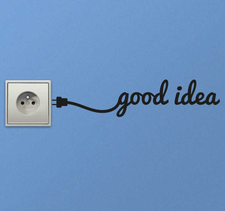 """TenStickers. Naklejka na włącznik światła dobry pomysł. Dekoracyjna naklejka na włącznik światła lub kontakt Naklejka przedstawia kabel, który łączy się z hasłem """"Good idea"""" czyli dobry pomysł."""
