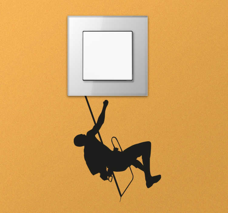TenStickers. Hanging Climber Switch Sticker. Switch decal designed to convert the plugs and switches in your home into something creative and original. A monochrome sticker perfect for lovers of mountain climbing who want to decorate any room in their home with a small item based on their hobby.