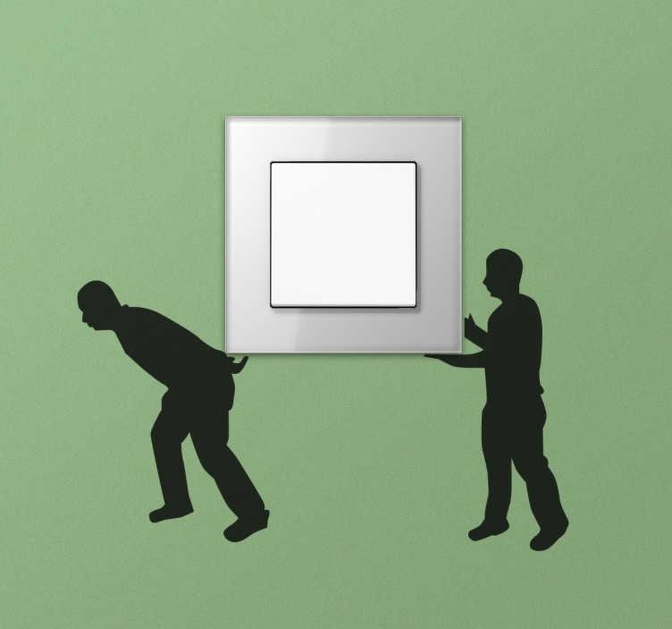 Tenstickers. Flyttende menn bytter klistremerke. Lysbryter klistremerke for å gjøre hjemmet ditt til noe mer uvanlig og original. Bytte og pluggdekal som viser to silhuettarbeidere som bærer en boks som i dette tilfellet kan være din egen plugg. Tilgjengelig i mer enn 50 forskjellige farger.
