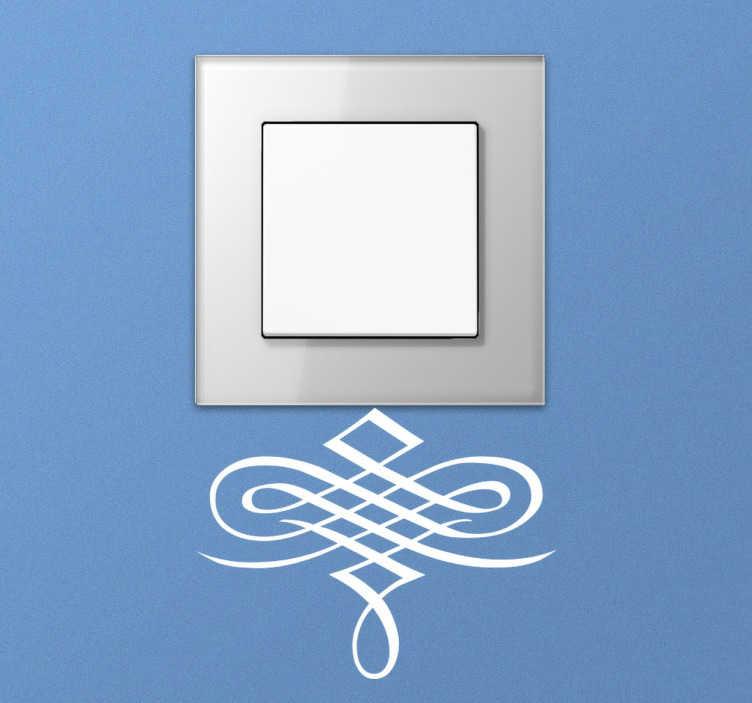 TenStickers. Autocolante interruptor ornamento caligráfico. Adesivo decorativo para interruptor para dar um toque distinto a qualquer divisão da tua casa. Aderem a qualquer superfície lisa e limpa.