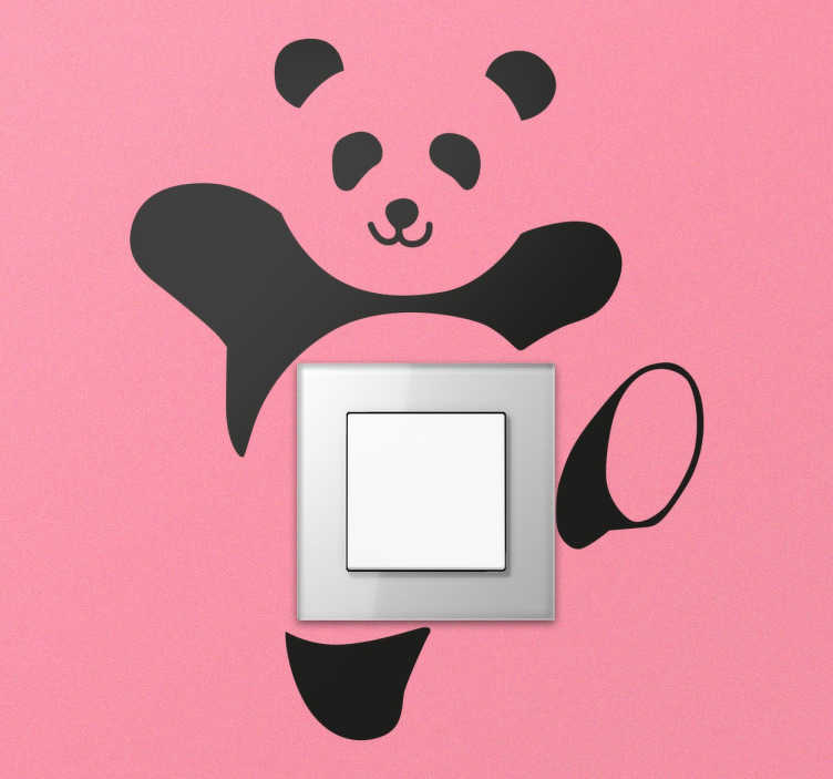 TenStickers. Naklejka na włącznik światła tańcząca panda. Naklejka na włącznik światla. najklejki na ścianę dla dzieci z pandą. naklejki na włącznik świateł. nietypowa dekoracja wnętrz.