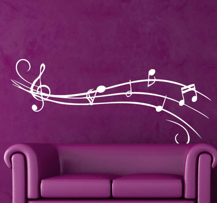 TenStickers. Sticker partition musicale. Un sticker mural décoratif d'une partition musicale, avec ses notes de musique et sa clé de sol. Parfait pour tous les amoureux de la musique !