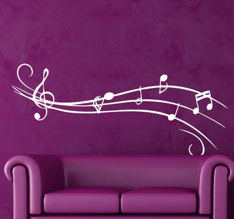 TenStickers. Naklejka na ścianę artystyczna pięciolinia. Naklejka na ścianę przedstawiająca pięciolinię z kluczem wiolinowym i różnymi nutami. Dla wszystkich miłośników muzyki.