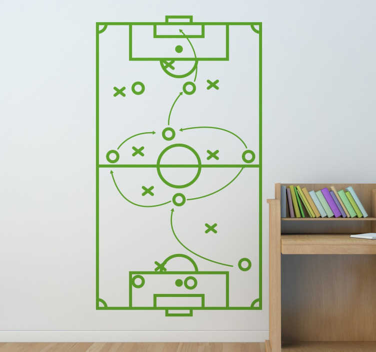 TENSTICKERS. サッカー戦略のステッカー. フィールドラインで表されるサッカーのピッチとクロスとサークルの2つのチームの選手の模式的なバージョンとスポーツの壁のステッカー。矢印はコーチが彼のチームが遂行したいと思う戦術に印を付ける。さまざまなサイズと色が用意されています。