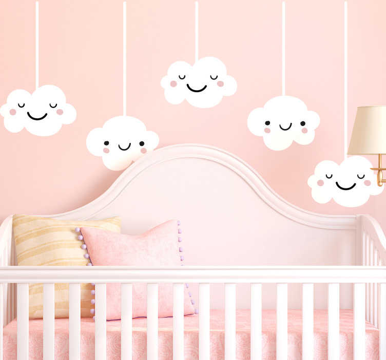 TenStickers. Cloud Wall Sticker. Decorative design illustrating a huge windy cloud from our brilliant collection of cloud wall stickers to decorate any room at home.