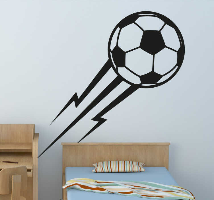 TenVinilo. Vinilo decorativo pelota como el rayo. Vinilos de fútbol con el dibujo de un balón de fútbol dejando una estela que recrea un relámpago.