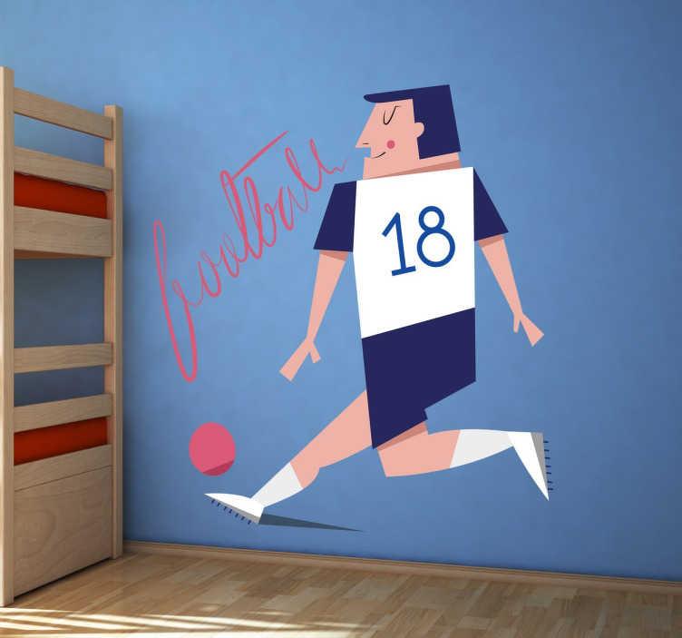 TenStickers. Sticker Bambini Calciatore n.18. Wall sticker per bambini raffigurante un giocatore di calcio con il numero 18.