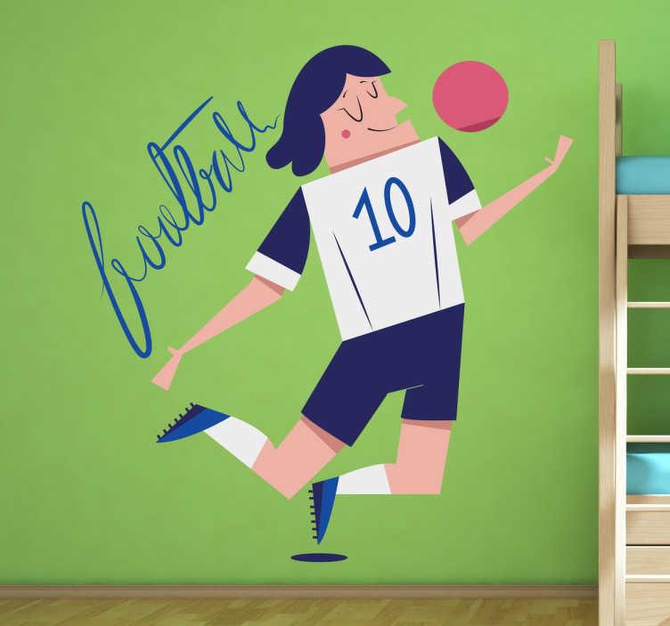 TenStickers. Naklejka dekoracyjna piłkarz nr. 10. Naklejki na ścianę dla dzieci; naklejka na ścianę dla chłopców zafascynowanych piłką nożną. Naklejka przedstawia piłkarza z koszulką z numerem 10.