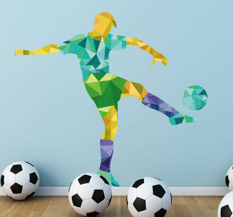 TenStickers. Geometric Footballer Sticker. A creative sports wall sticker of a footballer in action, with a colourful geometric design. A wall decal for all football fans, perfect to place in your children's bedroom to add some colour to their walls and show off their love of the great sport.