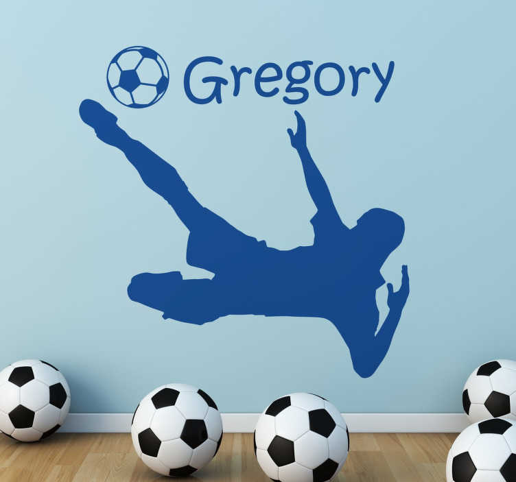 TenStickers. Customisable Football Player decorative vinyl. A customisable wall sticker with the silhouette of a footballer in action. Add your name to this football sticker to make it more personal to you!