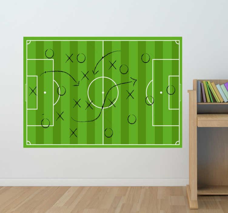 TenStickers. Fußballfeld Strategie Wandtattoo. Dekoratives Wandtattoo für alle kleinen und großen FUßballfans. Der Sticker zeigt ein Fußballfeld mit einer eingezeichneten Strategie.