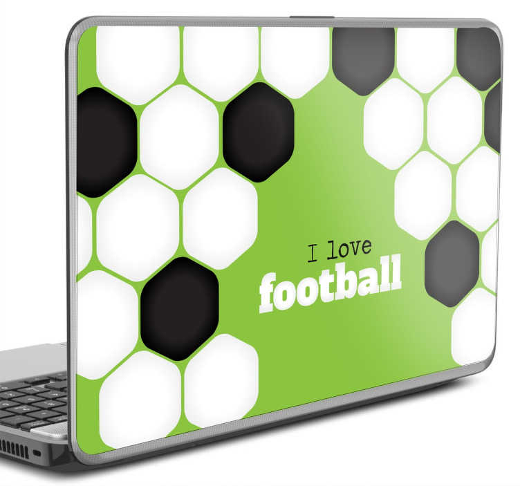 TenStickers. I Love Football Laptop Sticker. A creative laptop decal illustrating an original design for those that love football and are looking to personalise their device.