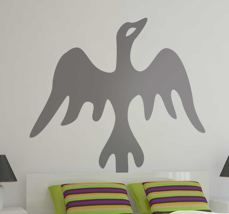 TenStickers. Sticker decorativo volatile africano. Adesivo murale che raffigura un uccello stilizzato tipico delle illustrazioni di stile etnico. Una decorazione originale per le pareti di casa.