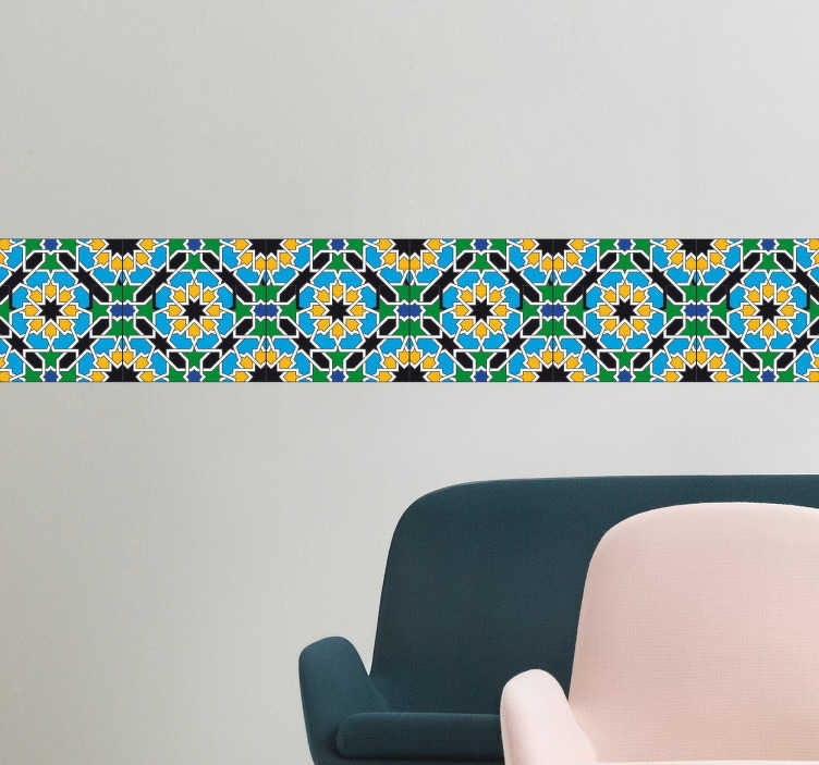 TENSTICKERS. 花模様のタイルステッカー. 装飾的なヒマワリとパターンのタイルに似ている美しい国境の壁のステッカー。この壁のステッカーで簡単でスタイリッシュな方法で任意の部屋にボーダー効果を作成します。この素敵な花のデザインであなたの浴室やキッチンを春に変えてください。