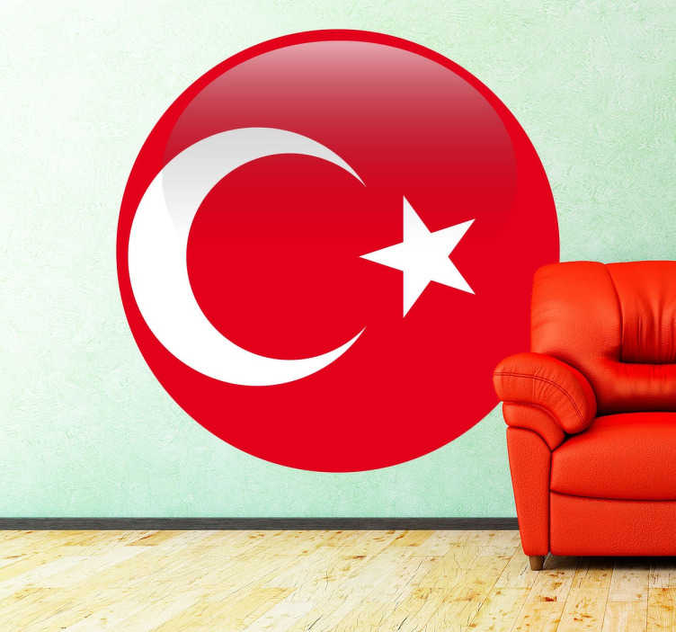 TenStickers. Round Turkish Flag Sticker. A sticker showing the white crescent moon and star with a red background of the Turkish flag.