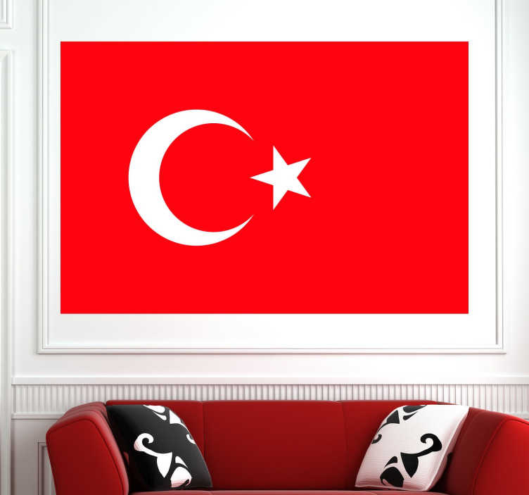 TenStickers. Wall sticker bandiera Turchia. Wall sticker decorativo che raffigura la bandiera della Turchia.