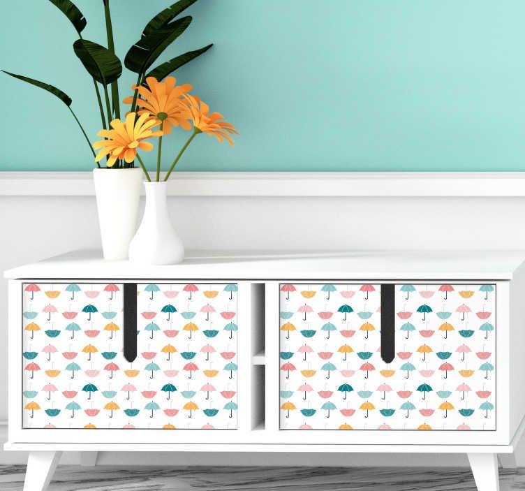 TenStickers. Autocollant mural parapluie. Stickers mural illustrant parapluie ouvert.Sélectionnez les dimensions de votre choix.Idée déco originale et simple pour votre intérieur.