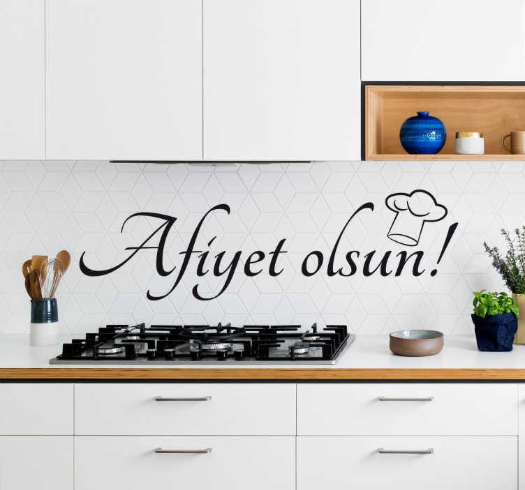 """TenStickers. Wandtattoo Guten Appettit Türkisch. Dekoratives Wandtattoo mit dem Text """"Guten Appettit"""" auf türkisch. Verschönern Sie Ihre Küche mit diesem Sticker."""