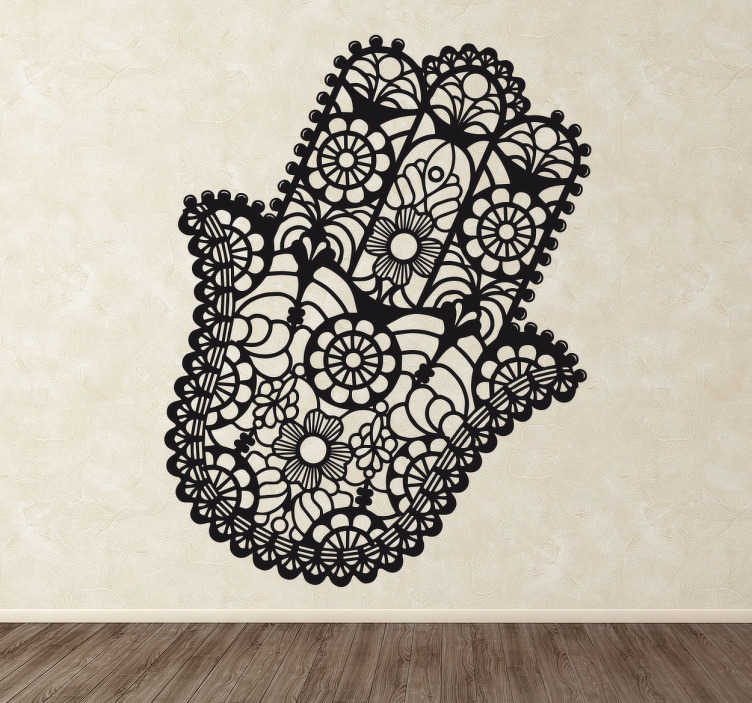 TenStickers. Floral Fatima Hand Sticker. Decorative sticker of the Hand of Fatima formed by floral strokes, ideal for any room in your home.