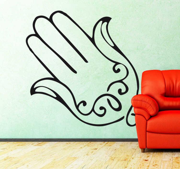 TenStickers. Wandtattoo einfache Hand der Fatima. Schlichtes Wandtattoo von der Hand der Fatima. Ein modernes und trendiges Design für dein Wohnzimmer und Schlafzimmer sowie für Möbel und Geräte.