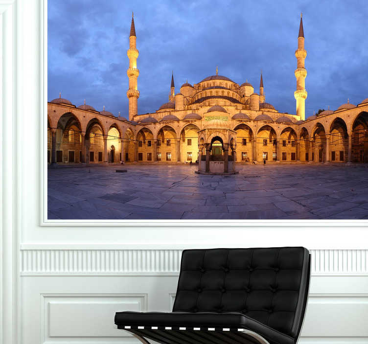 TenStickers. Blue Mosque Photo Mural. Photo mural sticker of the emblematic monument in Turkey; the Blue Mosque, to bring some culture and style to the walls of your home.