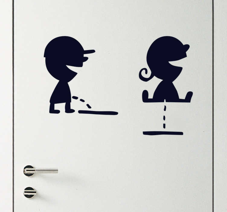 TenStickers. Naklejka na drzwi toalety dzieci. Naklejka dekoracyjna na drzwi toalety, która przedstawia dziewczynke i chłopca siusiających na dwa różne sposoby.