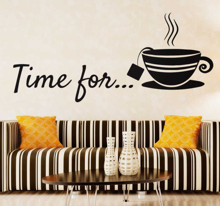 "TenStickers. Time For Tea Sticker. An ideal tea wall sticker for your business or your home with the phrase ""Time for ..."" and an elegant teacup. Create a creative and sophisticated environment with this sticker. Perfect for your kitchen at home, or if you own a café or tea room."