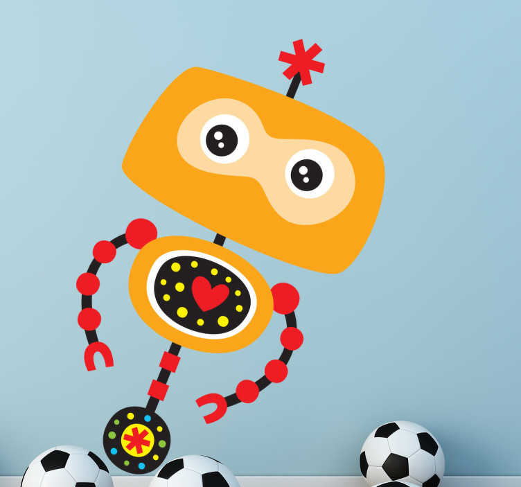 TENSTICKERS. 黄色のロボットの子供のステッカー. 鼓動する心臓部を持つこのカラフルな黄色のロボットは、子供たちのためのロボットの壁のステッカーのコレクションからのデザインです。このデカールは子供の寝室や遊び場を飾るのに理想的です。あなたの子供がロボットを愛しているなら、これは彼らを驚かせ、部屋のインテリアを改善する素晴らしいプレゼントになるでしょう。