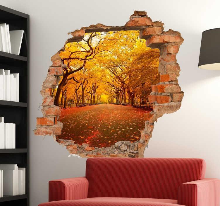 TenVinilo. Pegatinas personalizadas agujero pared ladrillo. Crea un espectacular efecto tridimensional en las paredes de tu casa y personalízalo con el fondo que quieras.