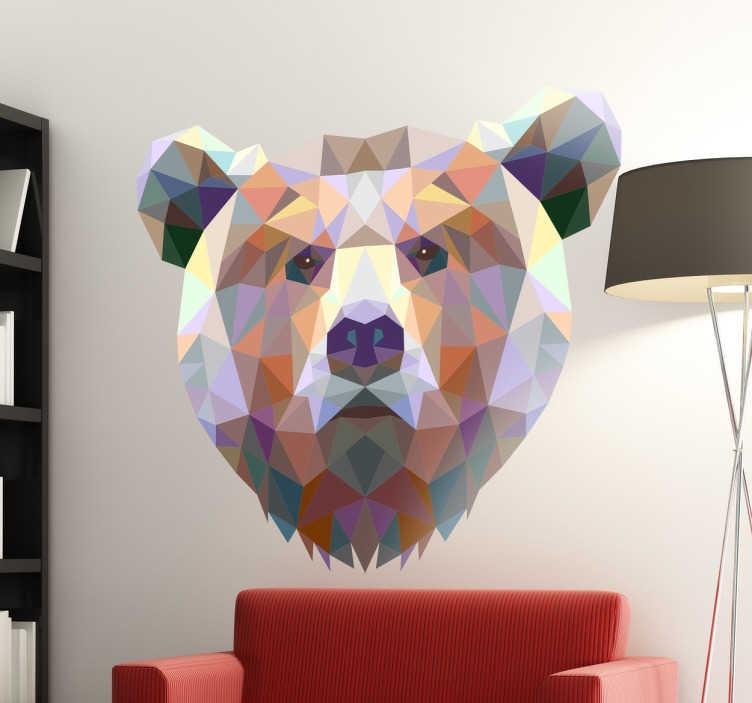 TENSTICKERS. 幾何学的なクマのステッカー. 幾何学的なクマの壁のステッカーは、多角形の形と色で作られた現代の野生動物のデザインを示しています。クマの頭のこの印象的なデザインであなたの家の壁を飾る。さまざまなサイズが用意されており、最適なサイズを選択できます。