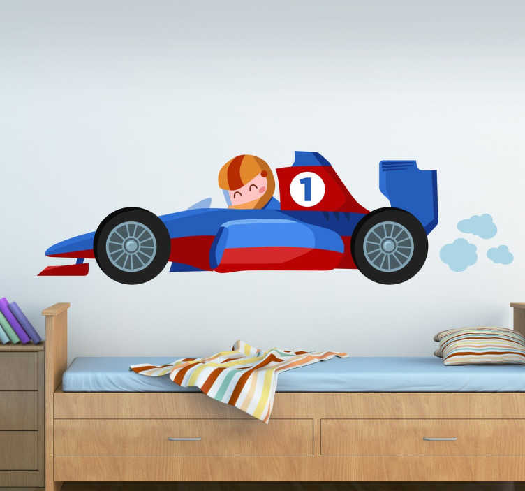 TenStickers. Kids F1 Car Wall Sticker. Fun and unique kids wall sticker of a little Formula 1 driver in a super fast red and blue race car. This cartoon F1 wall sticker is perfect for adding some colour and style to any child's bedroom.