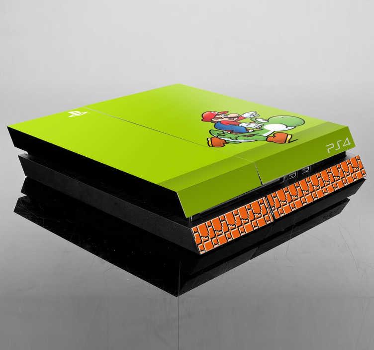 TenVinilo. Vinilo para PS4 Yoshi y Mario. Personaliza tu videoconsola con una adhesivo de tu juego favorito de siempre: SuperMario.