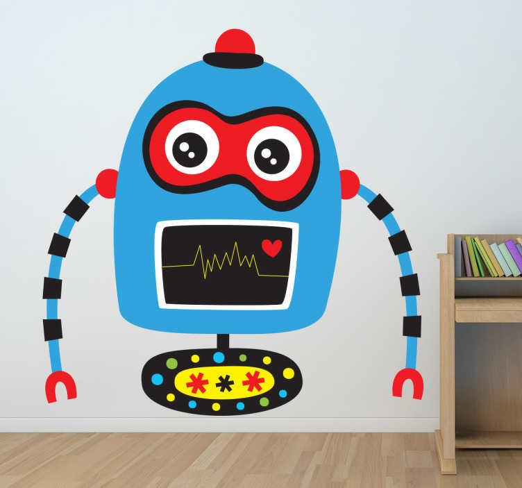 TenVinilo. Vinilo infantil robot azul. Vinilo infantil de un robot de color azul y ojos rojos. Tiene brazos articulados y una rueda en los pies. También tiene una bombilla roja.