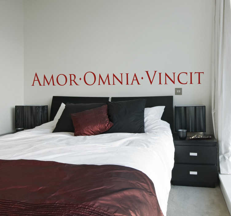 "TenStickers. Latin Love Text Sticker. Decorative bedroom wall sticker with a romantic Latin text; ""Amor Vincit Omnia"", which translates to ""Love conquers all"". Decorate the walls of your bedroom or your living room with a declaration of love that will create a cultural and romantic feel."